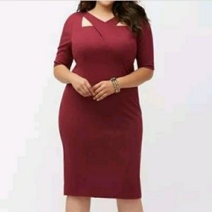 Lane Bryant Cocktail Dress 22 22W 2x Knit Wine new